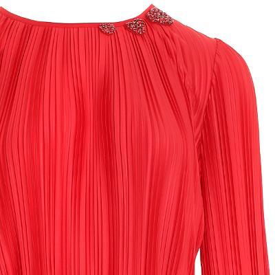 pleats texture dress red